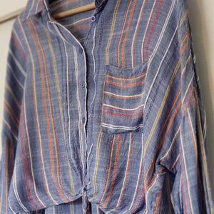 En Creme Striped High Low Shirt